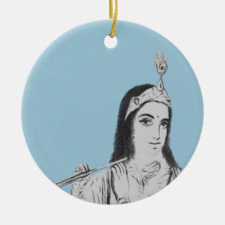 Krishna with Flute Round Ceramic Decoration