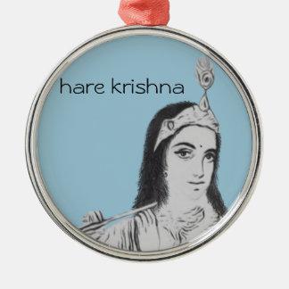 Krishna with Flute Silver-Colored Round Decoration