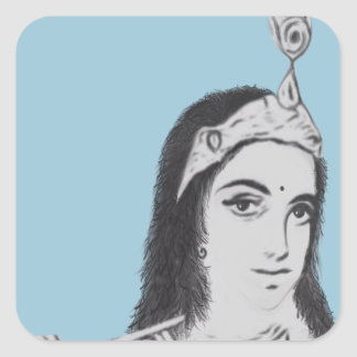 Krishna with Flute Square Sticker