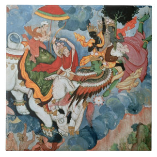 Krishna's combat with Indra, c.1590 Large Square Tile