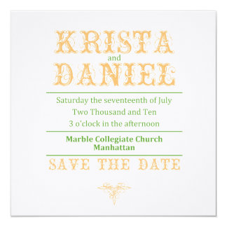 KRISTA SAVE THE DATE 13 CM X 13 CM SQUARE INVITATION CARD