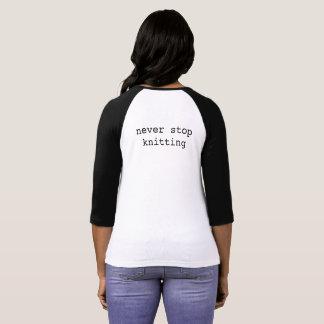Kristy Glass Knits Baseball T - never stop knittin T-Shirt