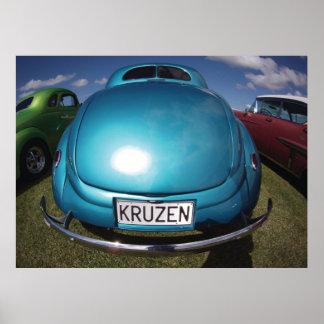 KRUZEN Blue Classic Car wideangle shot Poster
