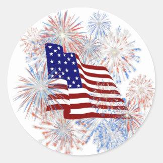 KRW American Flag Fireworks Patriotic Sticker