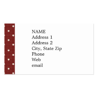 KRW Americana Red Stars Custom Business Cards