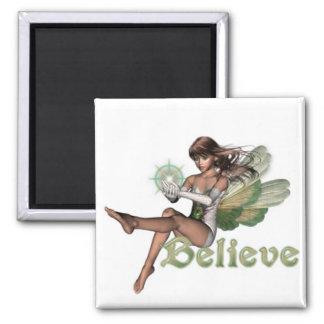 KRW Believe In Faeries Brunette Square Magnet