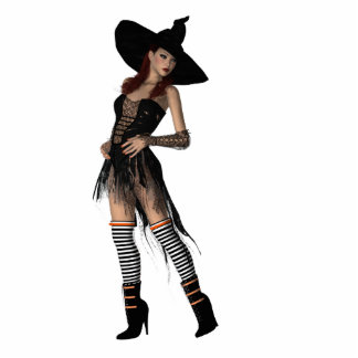 KRW Bewitching Red Head Witch Display Standing Photo Sculpture