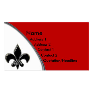 KRW Black and Red Fleur De Lis Two Tone Pack Of Standard Business Cards