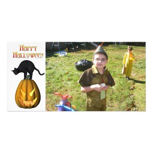 KRW Black Cat and Jack O Lantern Halloween Card Custom Photo Card