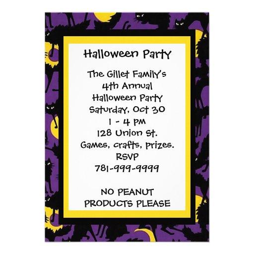 KRW Black Cat Halloween Custom Party Invitation