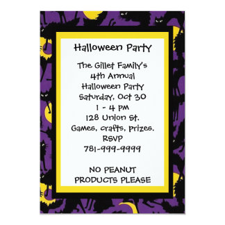 KRW Black Cat Halloween Custom Party Invitation