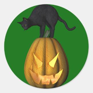 KRW Black Cat Jack O Lantern Halloween Classic Round Sticker