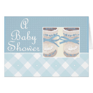 KRW Blue Booties Custom Baby Shower Invitation Stationery Note Card