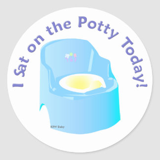 KRW Blue I Sat on the Potty Training Reward Classic Round Sticker