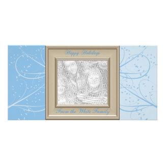 KRW Blue Ice Swirls Custom Photo Holiday Card Photo Card Template