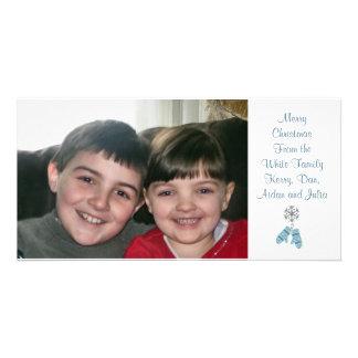 KRW Blue Mittens Custom Holiday Photo Card
