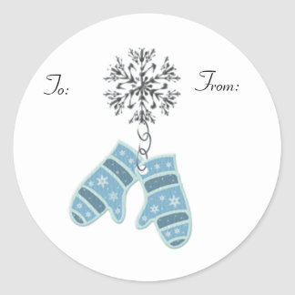 KRW Blue Mittens To and From Stick on Tags Classic Round Sticker