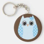KRW Blue Polka Dot Owl Keychain Favour