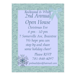 KRW Blue Snow Custom Holiday Invitation Postcard