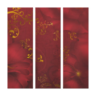 KRW Bordeaux Fantasy Floral Art Triple Canvas