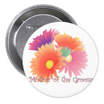 KRW Bright Daisy Mother of the Groom Wedding Butto 7.5 Cm Round Badge