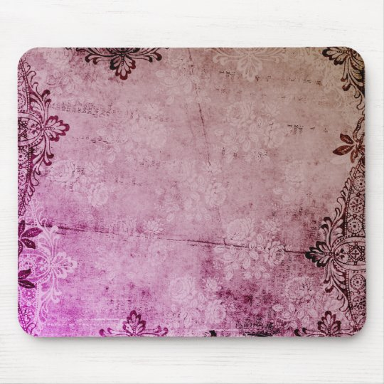 KRW Burgundy Watercolor Floral Grunge Mouse Mat