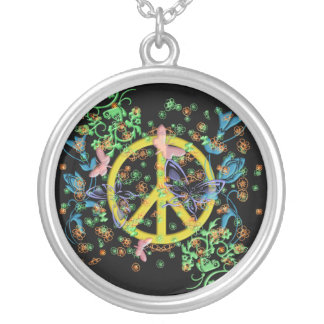 KRW Butterfly Peace Sign Sterling Silver Necklace