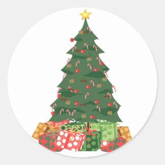 KRW Candy Cane Christmas Tree Classic Round Sticker