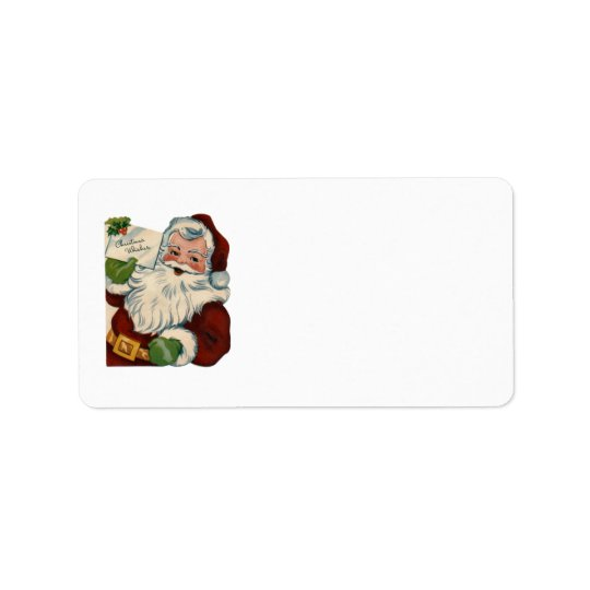 KRW Cartoon Santa Claus Blank Address Label