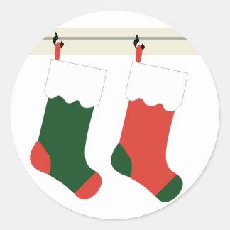 KRW Christmas Stockings Holiday Classic Round Sticker