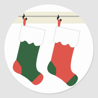 KRW Christmas Stockings Holiday Round Sticker
