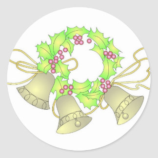 KRW Christmas Wreath with Bells Holiday Classic Round Sticker
