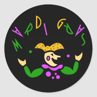 KRW Colorful Mardi Gras Jester Round Sticker