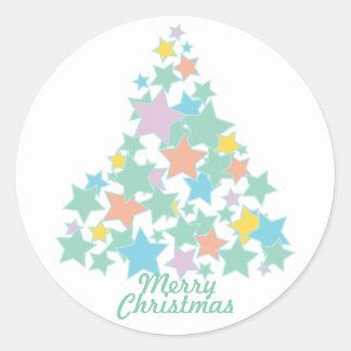 KRW Colorful Star Tree Christmas Classic Round Sticker