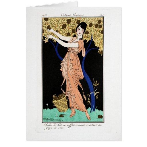 KRW Costumes Parisiens 1914 Blank Note Card