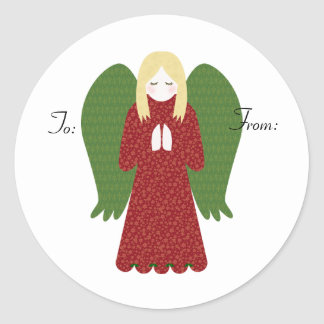 KRW Country Angel To and From Stick on Tags Classic Round Sticker