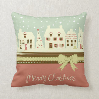 KRW Country Christmas Village Pillow Throw Cushions