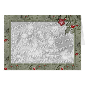KRW Country Holly and Green Stripes Custom Photo Greeting Card
