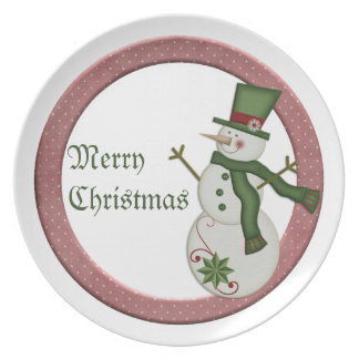 KRW Country Snowman Merry Christmas Plate