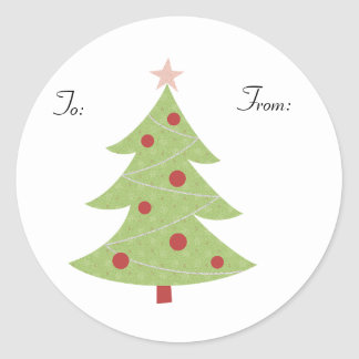 KRW Country Xmas Tree To and From Stick on Tags Classic Round Sticker