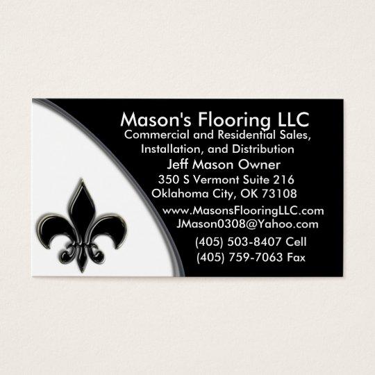 KRW CUSTOM Black Fleur De Lis Two Tone Business Card
