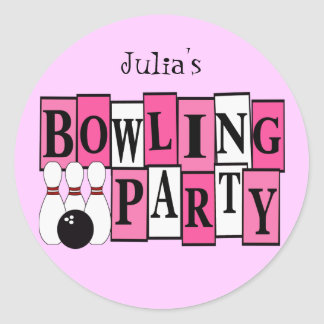 KRW Custom Bowling Birthday Party Classic Round Sticker