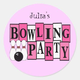 KRW Custom Bowling Birthday Party Round Sticker