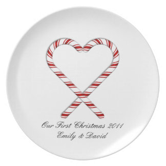 KRW Custom Candy Cane Heart First Christmas Plate
