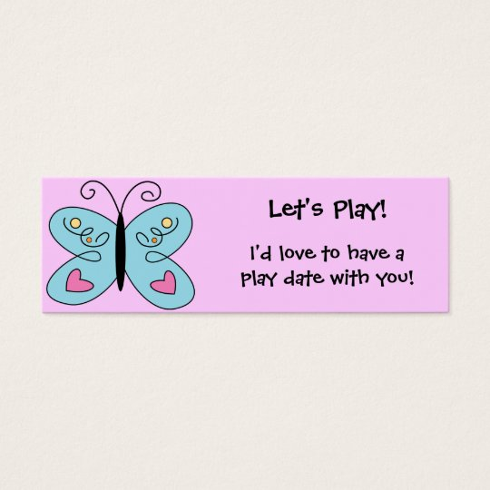 KRW Custom Colourful Butterfly Play Date Card