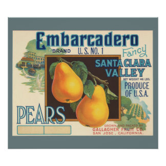 KRW CUSTOM Embarcadero Pears Vintage Crate Label Poster