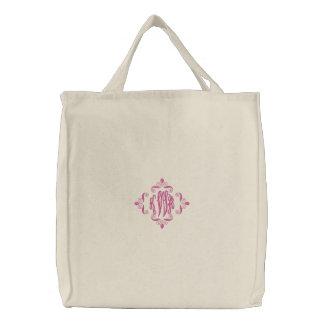 KRW Custom Fancy Monogram in Pink Embroidered Tote Bags