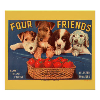 KRW CUSTOM Four Friends Vintage Tomato Label Poster
