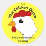 KRW Custom Funny Chicken Dance Wedding Round Sticker