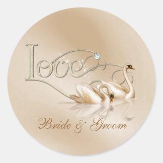 KRW Custom Graceful Swans Love Wedding Seals Round Sticker